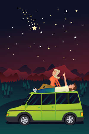 A illustration of couple watching the stars in the sky