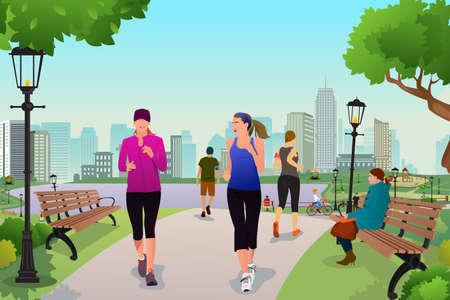 people jogging: Una ilustración mujeres sanas que se ejecutan en un parque Vectores