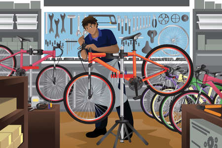A illustration of bike repairman repairing a bicycle in his shop