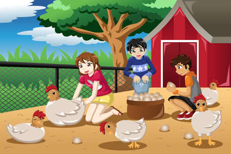 A illustration of children collecting eggs from the farm