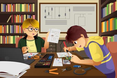 Una ilustración de dos niños que trabajan en un proyecto electrónico