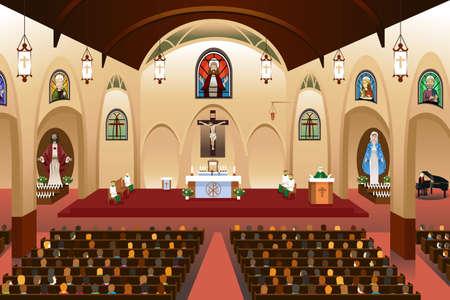 Een vector illustratie van pastor geven van een preek in een kerk Stock Illustratie