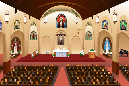 A vector illustration of pastor giving a sermon at a church Vectores