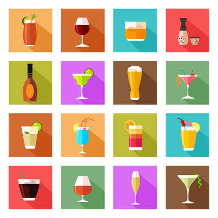 tomando alcohol: Una ilustración vectorial de bebida de alcohol gafas iconos