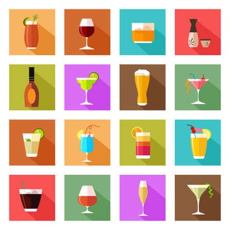 alcool: Une illustration de vecteur d'alcool boisson lunettes icônes