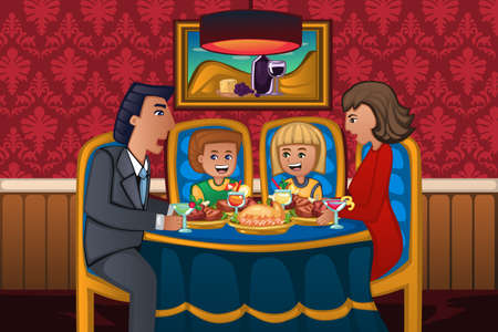 family eating: A vector illustration of happy family eating dinner together