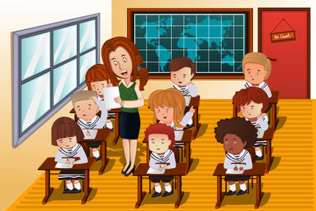 cartoon school girl: A vector illustration of students taking an exam in class