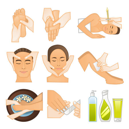 A vector illustration of beauty spa icons Stock Illustratie