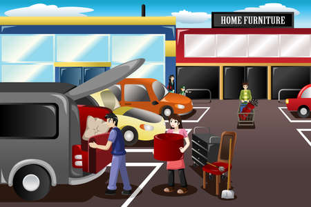 furniture store: A vector illustration of couple loading new furniture from the store