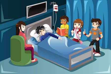 accident patient: A vector illustration of kids visiting their friend in hospital