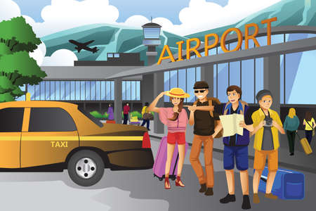A vector illustration of young people traveling together Иллюстрация