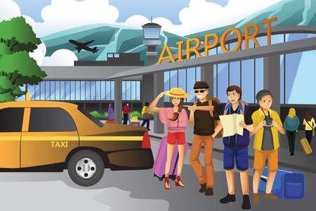 persona viajando: Una ilustración vectorial de los jóvenes que viajan juntos
