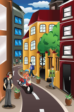 cartoon kids: A vector illustration of city scene
