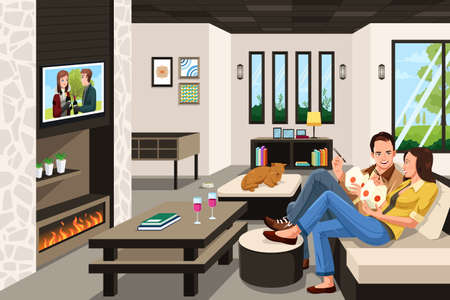 happy couple: A vector illustration of couple eating take out Chinese food at home