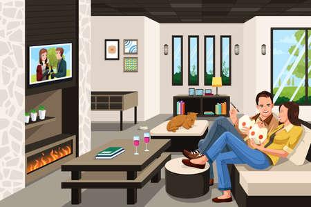 pareja comiendo: Una ilustración vectorial de par comer llevar comida china en casa