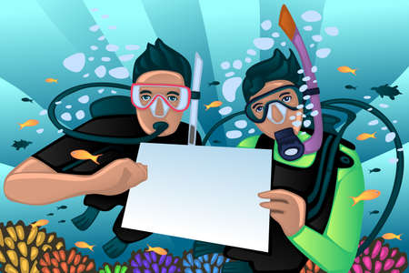 A vector illustration of snorkeling poster