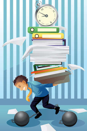 workload: A vector illustration of  businessman carrying a pile of paper