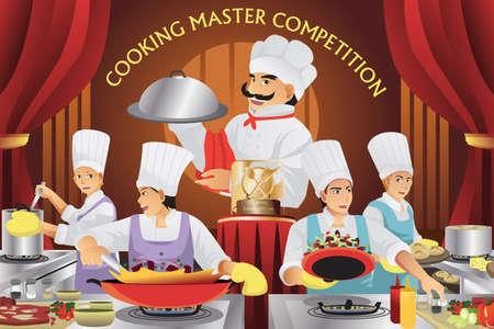 調理マスター競争のベクトル イラスト