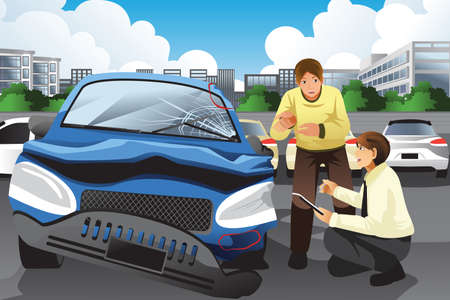 accident at work: A vector illustration of insurance agent assessing a car accident