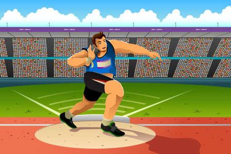 Una ilustración vectorial de putter un disparo en un lanzamiento de peso la competencia para la serie competición deportiva Vectores
