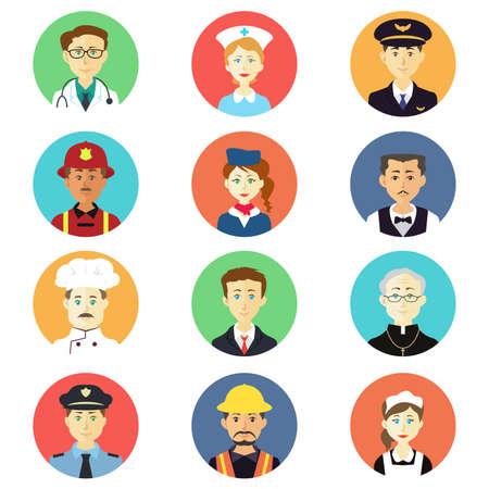 Una ilustración vectorial de profesión conjuntos de iconos