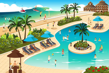 A vector illustration of scene in a tropical resort Иллюстрация