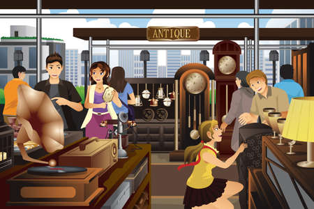 stuff: A vector illustration of people shopping  in the market of antique stuff