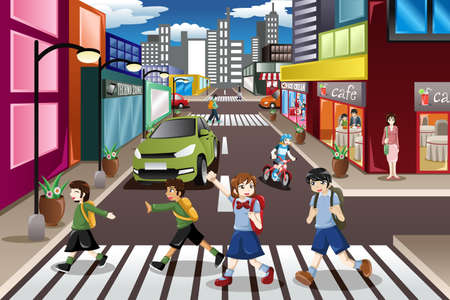 A vector illustration of kids using the pedestrian lane while crossing the street Stock Illustratie