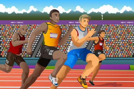 gente corriendo: Una ilustraci�n vectorial de gente corriendo en una carrera para la serie de la competencia deportiva Vectores