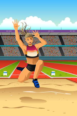 salto de longitud: Una ilustración vectorial de la mujer atleta hace salto de longitud para la serie de la competencia deportiva