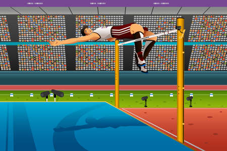 high jump: A vector illustration of male high jumper in midair over bar for sport competition series Illustration