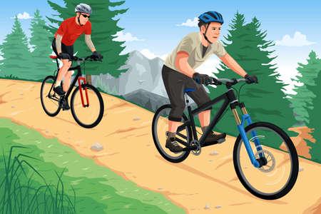 Una ilustración vectorial de personas montando bicicletas de montaña en la montaña Vectores