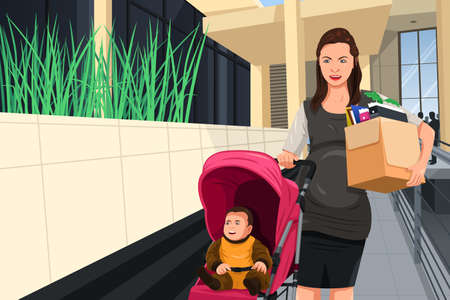 resign: A vector illustration of a pregnant woman leaving her job to take care of her baby
