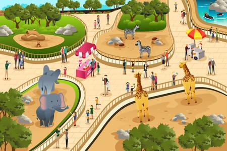 Una ilustración vectorial de escena en un zoológico Vectores