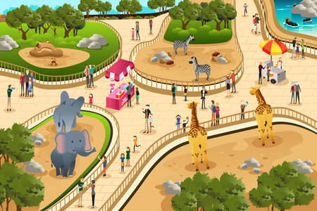 animals in the zoo: Una ilustraci�n vectorial de escena en un zool�gico Vectores