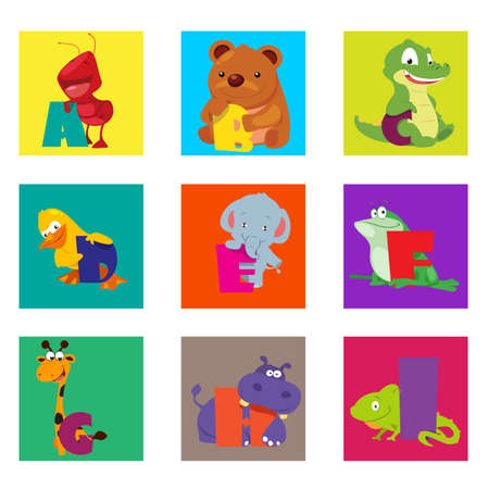 A vector illustration of alphabet animals from A to I Vector