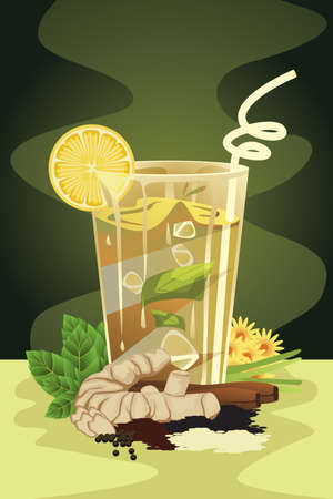 A vector illustration of herbal drink Ilustração
