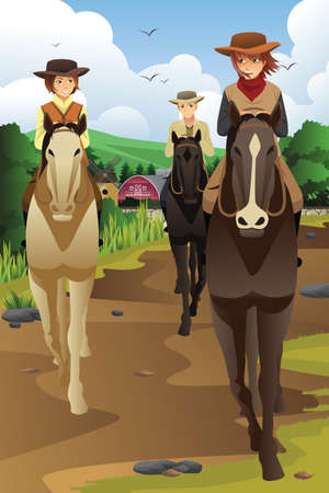 riding: A vector illustration of young people horseback riding in a ranch