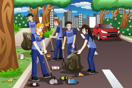 A vector illustration of kids volunteering by cleaning up the road