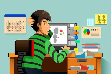 Een vector illustratie van een een grafische ontwerper werken op zijn computer