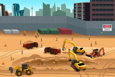 operarios trabajando: Una ilustración vectorial de escena en una obra en construcción