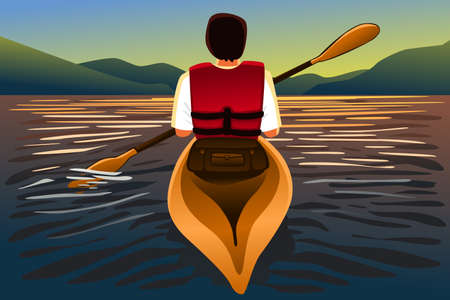 A vector illustration of man riding a kayak in the lake