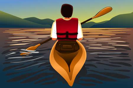 kayak: A vector illustration of man riding a kayak in the lake Illustration