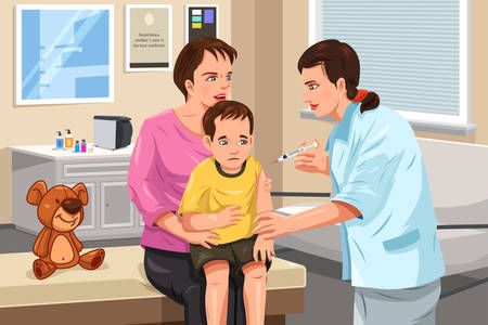 medical drawing: A vector illustration of a pediatrician giving a shot to a little child