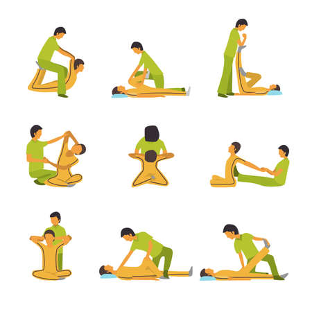 masaje deportivo: Una ilustración vectorial de la terapia de spa de masajes conjuntos de iconos Vectores