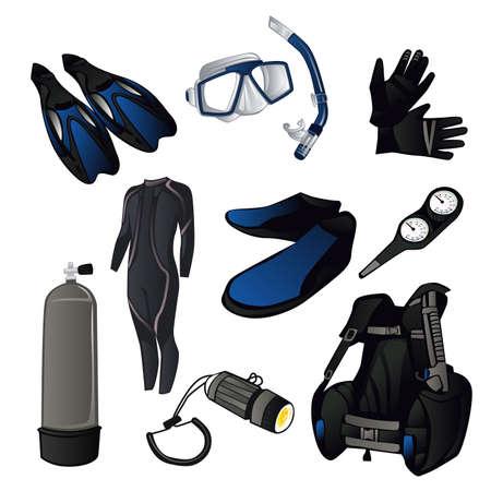 スキューバ ダイビング アイコン セットのベクトル図  イラスト・ベクター素材