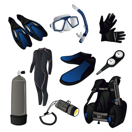 sea  scuba diving: A vector illustration of scuba diving icon sets Illustration