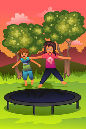 trampoline: A vector illustration of happy kids playing on a trampoline Illustration
