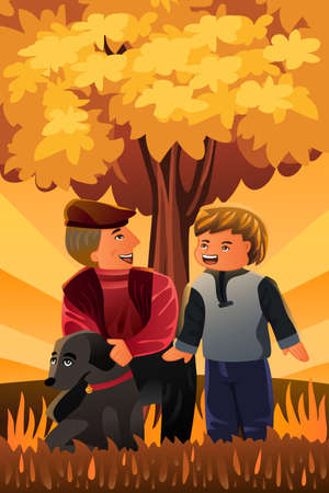 Vector father and son: A vector illustration of a father playing with his son and their dog