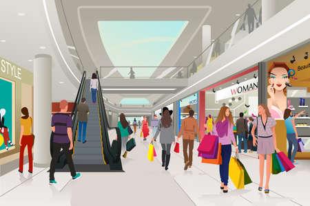 chicas comprando: Una ilustración vectorial de compras de la gente en un centro comercial
